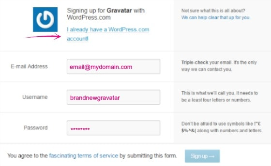 Create a Gravatar account